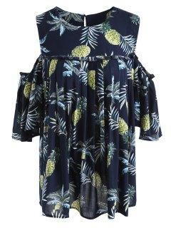 Pineapple Cold Shoulder Plus Size Blouse - Purplish Blue 2xl