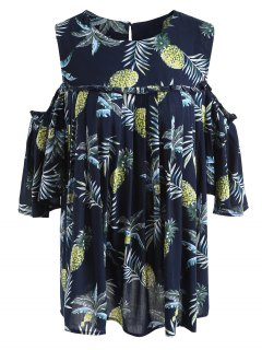 Pineapple Cold Shoulder Plus Size Blouse - Purplish Blue 5xl