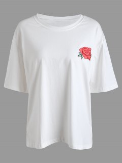 Camiseta Con Estampado De Flores Bordadas - Blanco 4xl