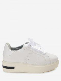 Square Toe Velvet Platform Sneakers - White 37