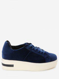 Square Toe Velvet Platform Sneakers - Blue 37