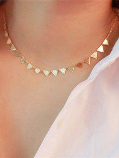 Metal Triangle Collarbone Charm Necklace - Golden