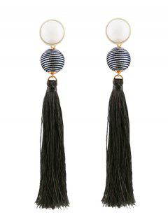 Tassel Ball Vintage Drop Earrings - Gray