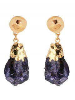 Natural Stone Clip On Earrings - Golden
