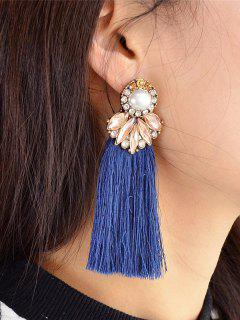 Tassel False Pearl And Crystal Drop Earrings - Blue