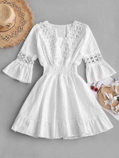 Crochet Panel Smocked Flare Sleeve Dress - White L