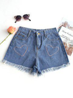 Heart Embroidered Frayed Hem Denim Shorts - Denim Blue L