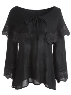 Crinkly Overlay Lacework Insert Plus Size Blouse - Black 4xl