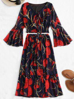 Flare Sleeve Floral Top And Skirt Set - Floral L