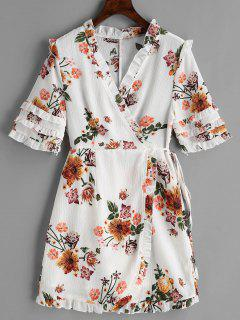 Floral Wrap Frilled Mini Dress - White M