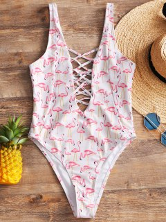 Lattice Flamingo High Cut Swimwear - White M