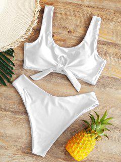 Hohe Taille Schleife Hohes Bein Bikini - Weiß M