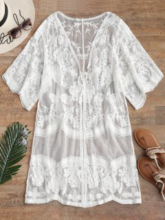 Embroidered Sheer Mesh Kimono - White