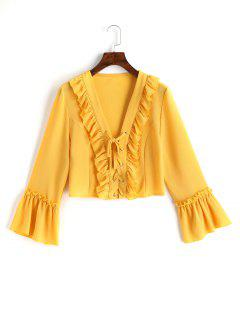 V Neck Lace Up Ruffle Top - Yellow M