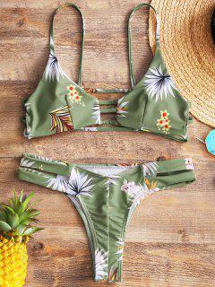Floral Ladder Cut Out Thong Bikini - Light Green L