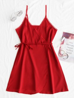 Lace Panel Surplice Slip Mini Dress - Red M