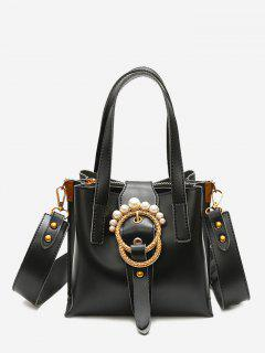 Round Buckled Faux Pearl Handbag - Black