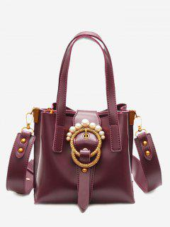 Round Buckled Faux Pearl Handbag - Wine Red