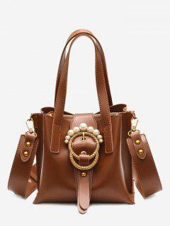Round Buckled Faux Pearl Handbag - Brown
