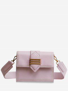 Metal Buckled Stitching Crossbody Bag - Pink