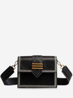 Metal Buckled Stitching Crossbody Bag - Black