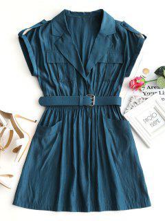 Lapel Collar Belted Mini Dress - Peacock Blue M