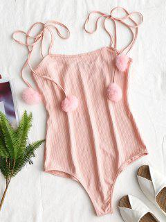Knitted Ribbed Pompoms Bodysuit - Pink Xl