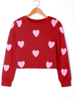 Hearts Graphic Sweatshirt - Pink L