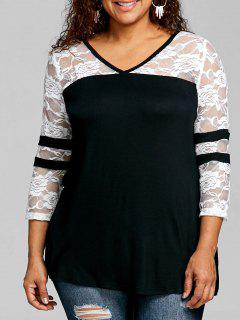 Plus Size Lace Insert V Neck T-shirt - White And Black 2xl