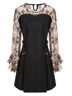 Mini Robe Tunique à Lacets Grande Taille - Noir 5xl