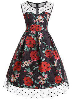 Vestido Con Estampado De Lunares Y Estampado De Rosas A Lunares - Negro 4xl