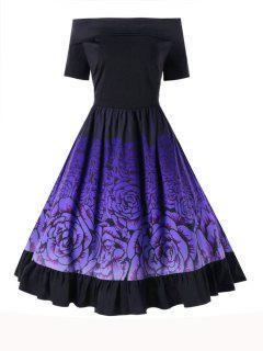 Taille Plus Off The Robe Fleur Imprimer épaule - Noir 5xl
