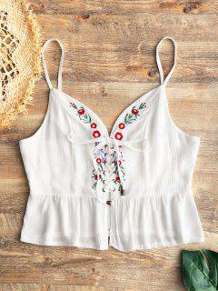 Embroidered Ruffle Lace Up Tank Top - White S