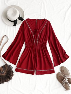 Open Back Lattice Hollow Out Romper - Wine Red Xl