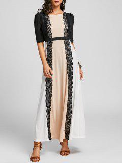 Lace Insert Color Block Party Maxi Dress - 2xl