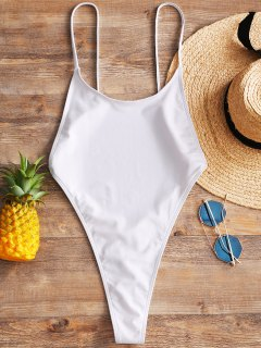 Cami Backless High Cut Swimwear - White L