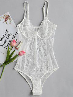 Valentine Polka Dot Sheer Mesh Bodysuit - White M