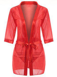 Robe De Nuit Enveloppante Sans Col - Rouge