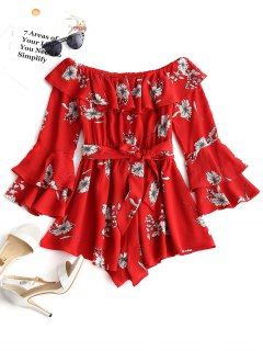 Ruffle Floral Off Shoulder Romper - Red L