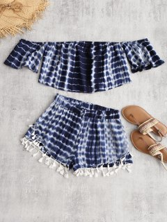 Tie Dye Off The Shoulder Top And Tassel Shorts - Deep Blue M