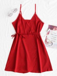 Mini Vestido De Encaje Con Panel Surplice Slip - Rojo L