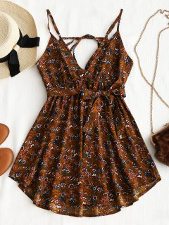 Belted Floral Drawstring Mini Dress - Brown L