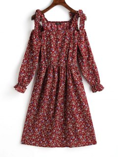 Tiny Floral Cold Shoulder Mini Dress - Dark Red M