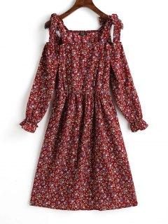 Tiny Floral Cold Shoulder Mini Dress - Dark Red L