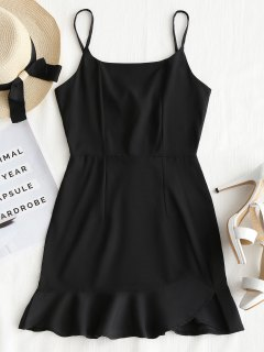 Back Zip Ruffle Slip Mini Dress - Black S