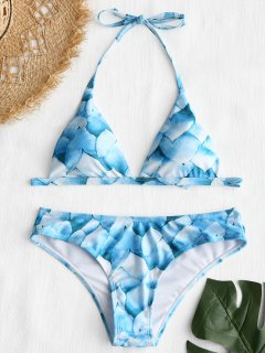 Petal Print Halter Bikini Set - Blue M
