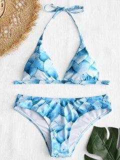 Conjunto De Bikini Halter Con Estampado De Pétalos - Azul S