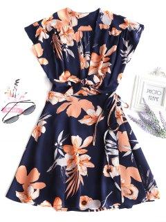 Mini Vestido Floral Atado Con Lazo - Azul Profundo L