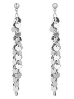 Metal Disc Fringed Earrings - Silver
