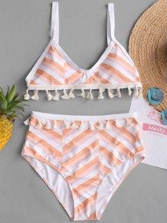 Ensemble Bikini à Taille Haute Avec Pompons Et Motif Zig Zag  - S